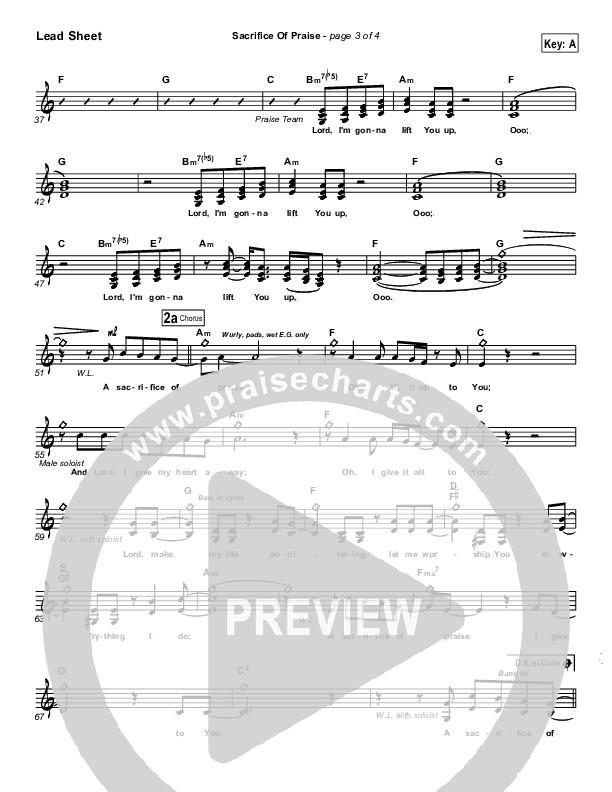 Sacrifice Of Praise Lead & Piano (Don Moen)