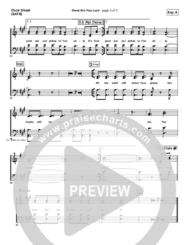 Great Are You Lord Choir Sheet (SATB) (All Sons & Daughters)