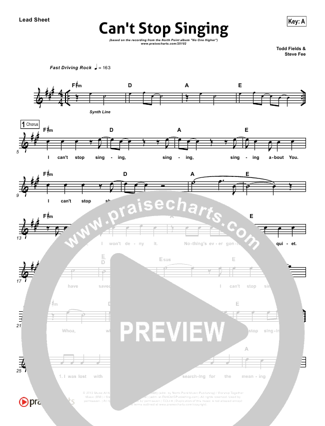Can't Stop Singing Lead Sheet (North Point Worship / Seth Condrey)