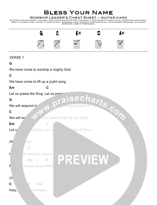 Bless Your Name Chord Chart (North Point Worship / Eddie Kirkland)