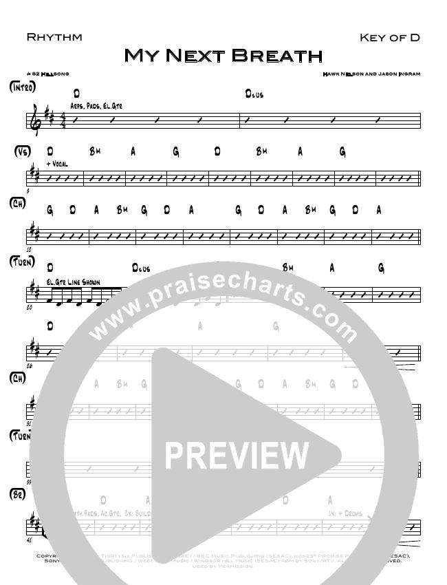 My Next Breath Rhythm Chart (North Point Worship / Eddie Kirkland)
