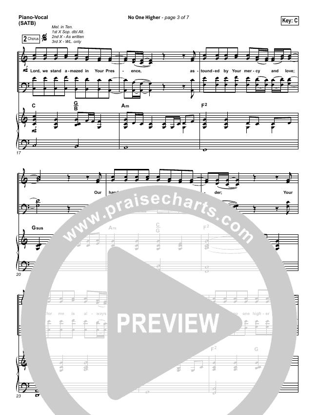 No One Higher Piano/Vocal (SATB) (North Point Worship / Seth Condrey)
