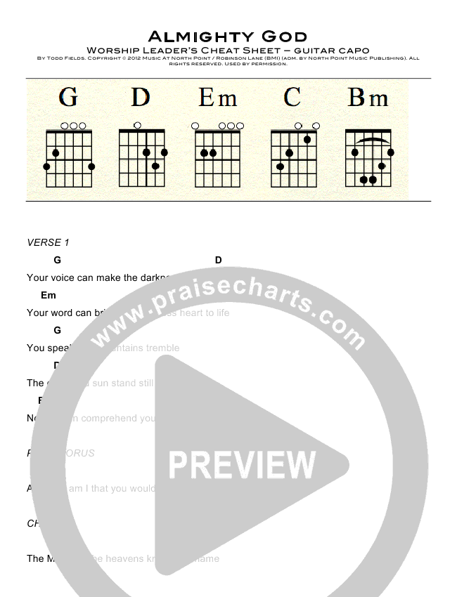 Almighty God Chord Chart (Todd Fields / Candi Pearson Shelton / North Point Worship)