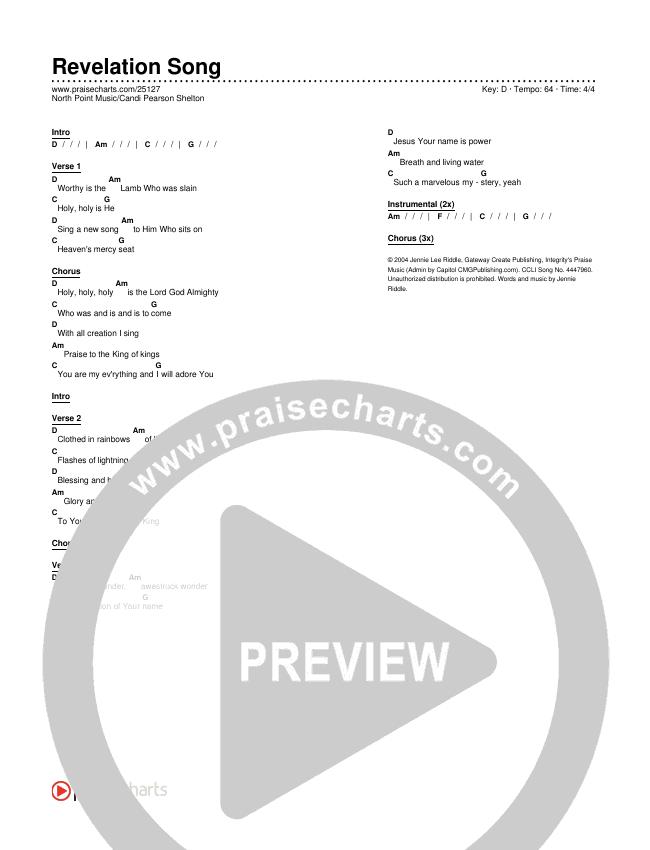 Revelation Song Chords & Lyrics (Candi Pearson Shelton / North Point Worship)