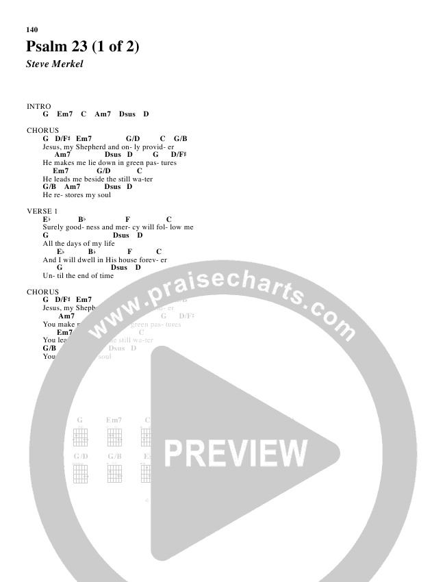 Psalm 23 Chords Don Moen Praisecharts