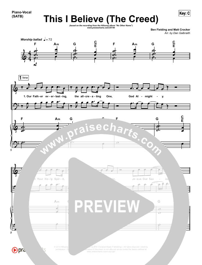 This I Believe (The Creed) Piano/Vocal (SATB) (Hillsong Worship)