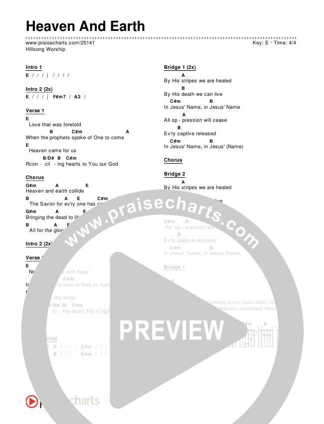 Heaven And Earth Chords & Lyrics (Hillsong Worship)