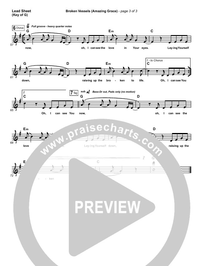 Broken Vessels Lead Sheet (Melody) (Hillsong Worship)
