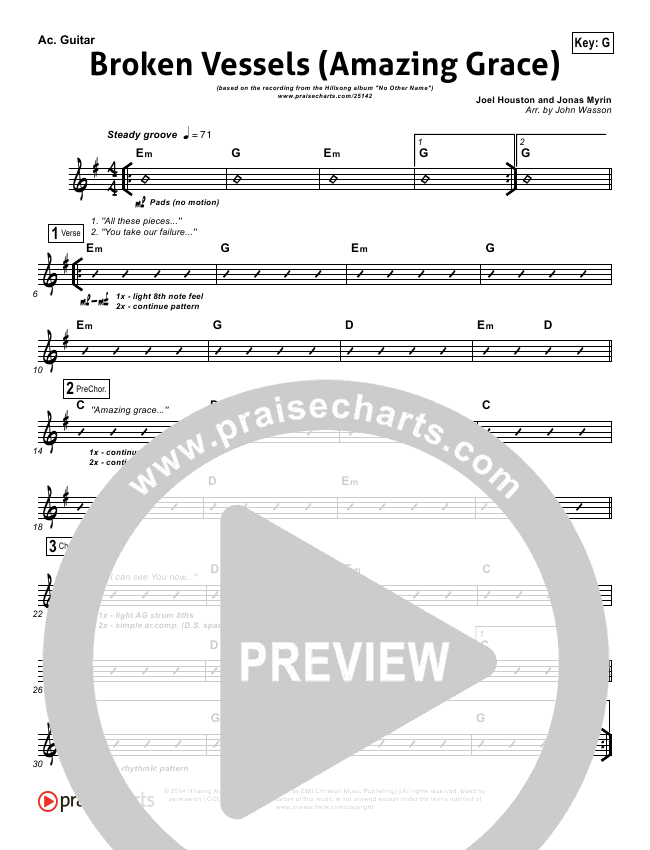 Broken Vessels Rhythm Chart (Hillsong Worship)