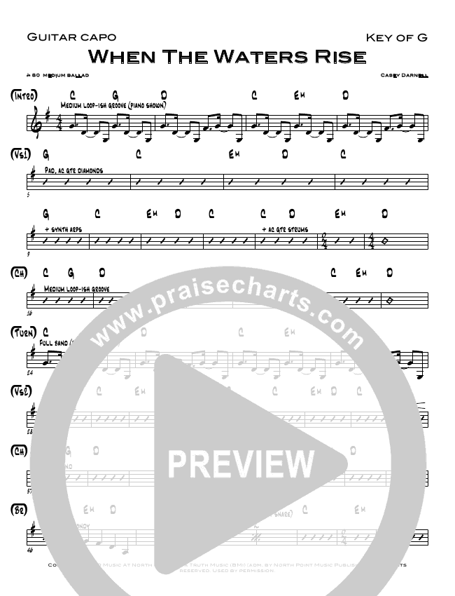 When The Waters Rise Rhythm Chart (Casey Darnell)