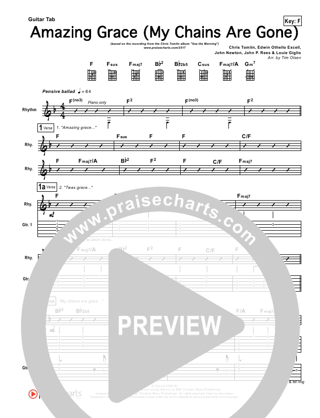 Amazing Grace (My Chains Are Gone) Guitar Tab - Chris Tomlin ...