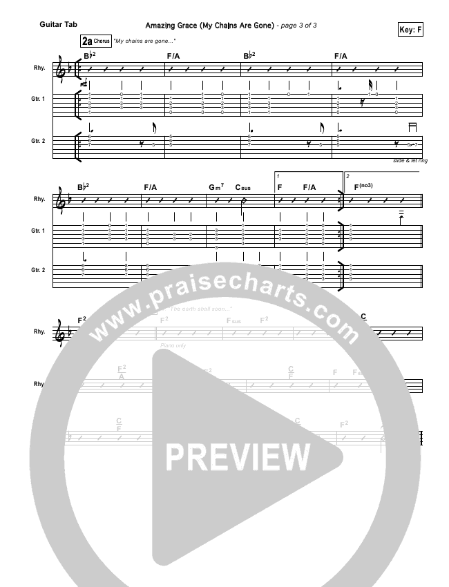 Amazing Grace (My Chains Are Gone) Guitar Tab (Chris Tomlin)