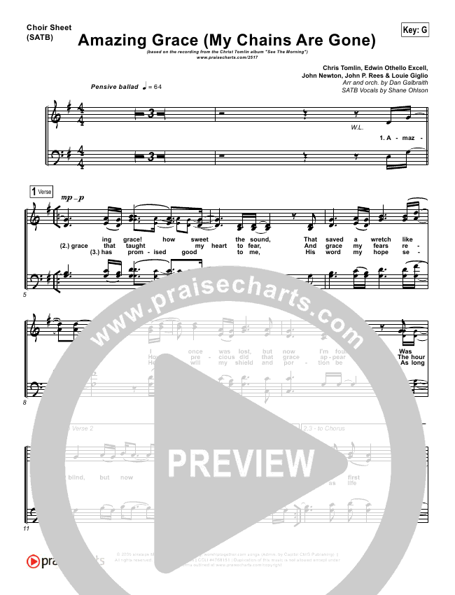 Amazing Grace (My Chains Are Gone) Choir Sheet (SATB) (Chris Tomlin)