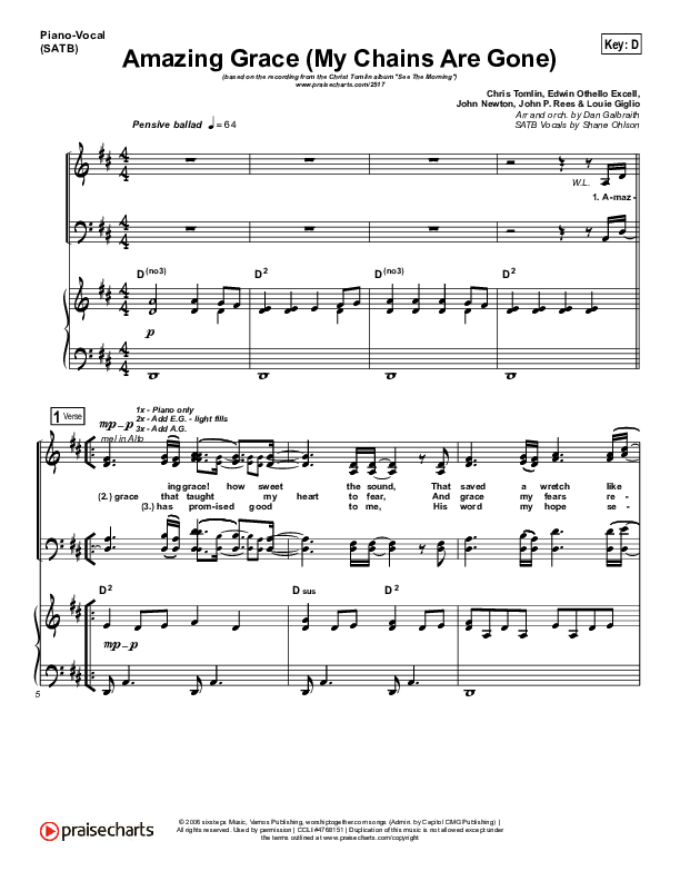 Amazing Grace (My Chains Are Gone) Piano/Vocal (SATB) (Chris Tomlin)