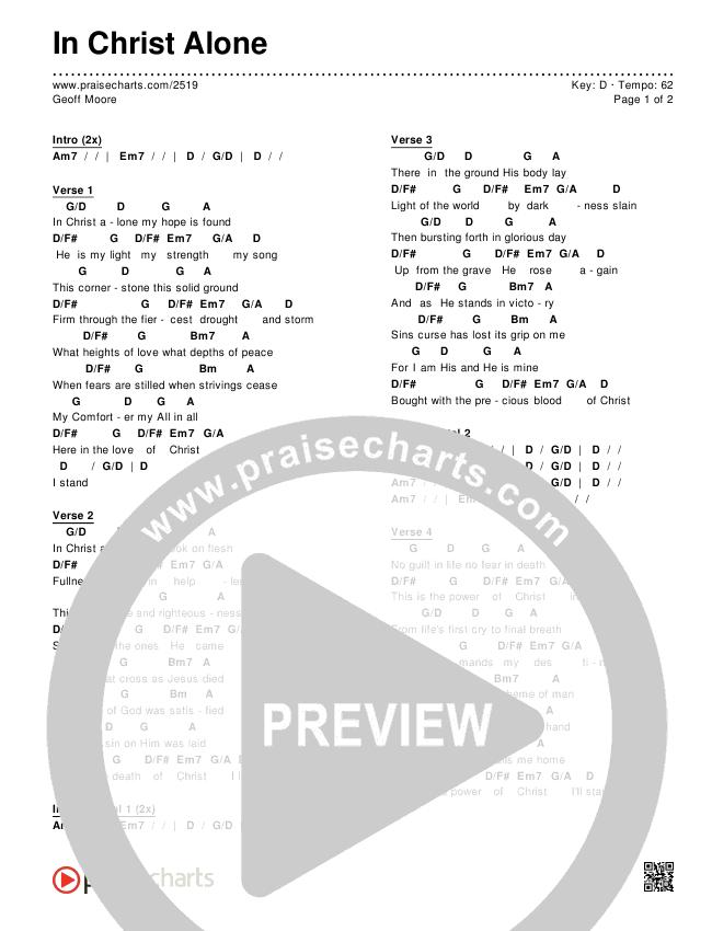 In Christ Alone Chords & Lyrics (Geoff Moore)