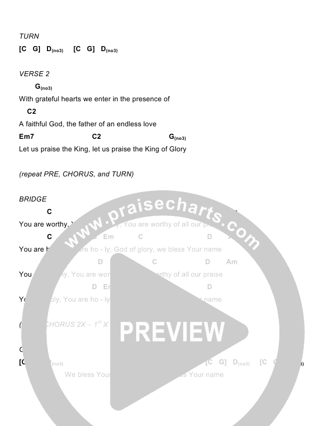 Bless Your Name Chord Chart (Eddie Kirkland / North Point Worship)