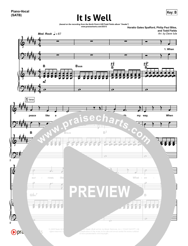 It Is Well Piano/Vocal (SATB) - North Point Music, Todd