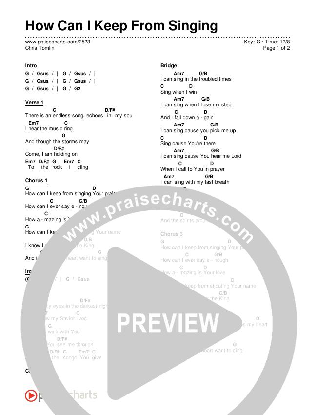How Can I Keep From Singing Chords & Lyrics (Chris Tomlin)