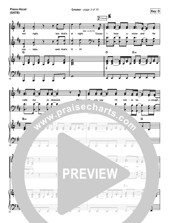 Greater Piano/Vocal (SATB) (MercyMe)
