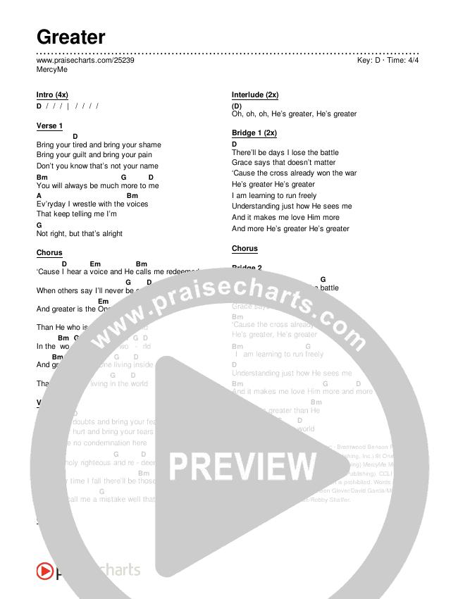 Greater Chords & Lyrics (MercyMe)