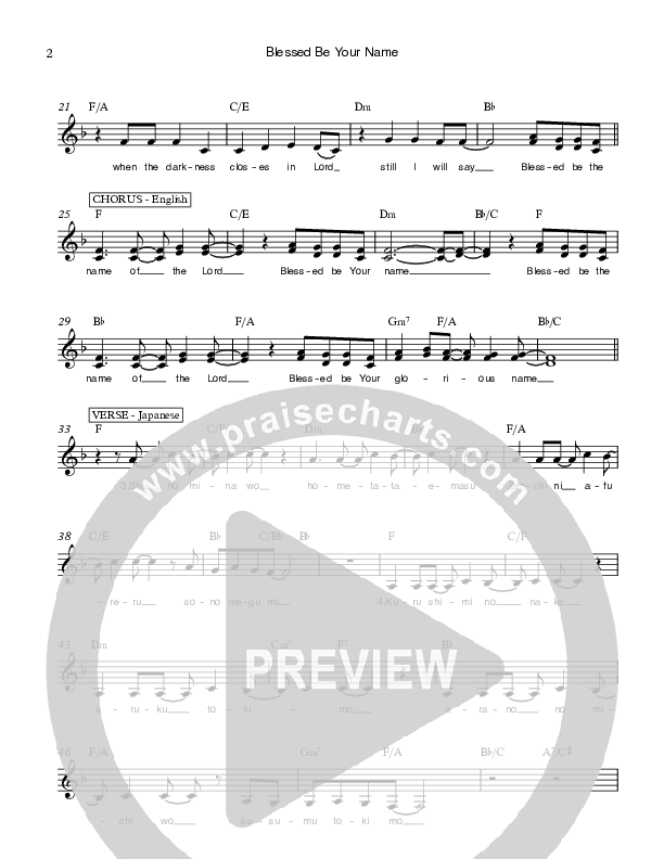 Blessed Be Your Name Lead Sheet (Ethnos Community Church / Andy Santos / Vahagn Stepanyan)
