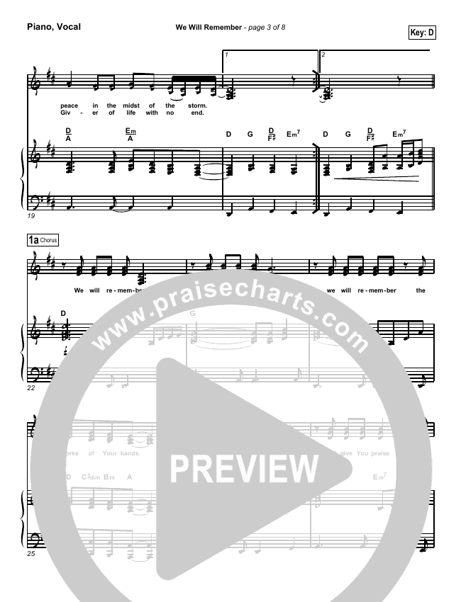 We Will Remember Piano/Vocal (SATB) (Tommy Walker)