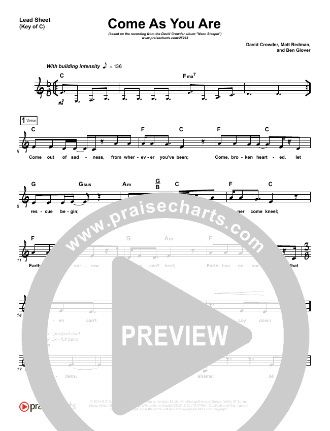 Come As You Are Lead Sheet (Melody) (David Crowder)