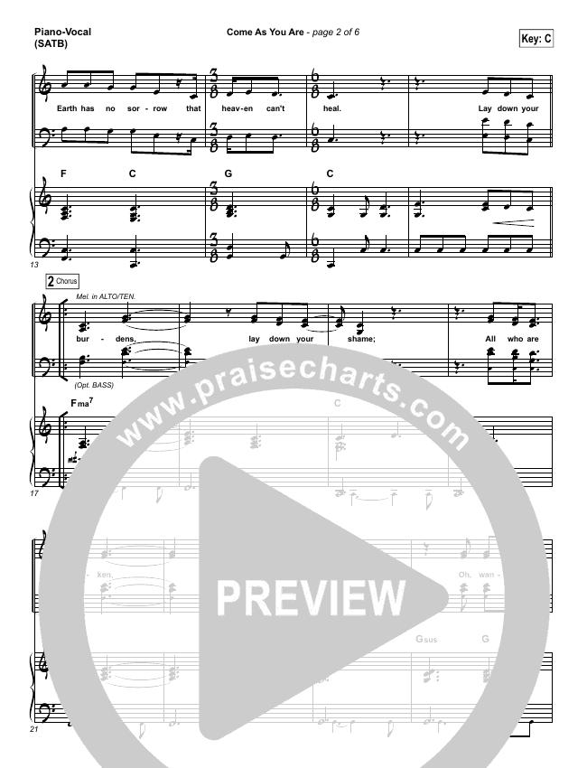Come As You Are Piano/Vocal (SATB) (David Crowder)