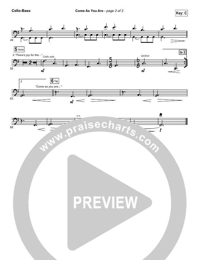Come As You Are Bass Sheet Music Ibovnathandedecker