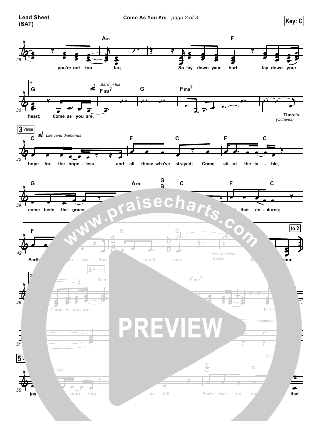 Come As You Are Sheet Music Ibovnathandedecker