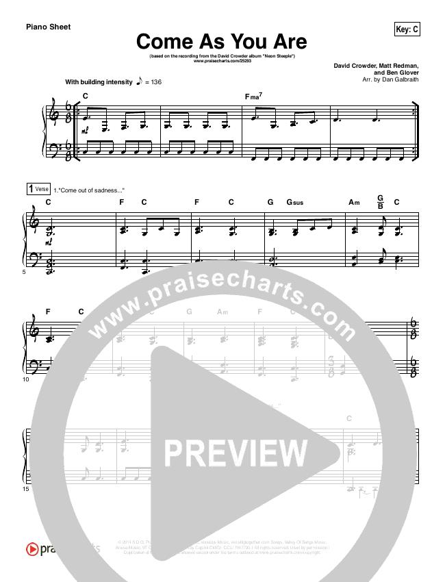 Come As You Are Piano Sheet (David Crowder)