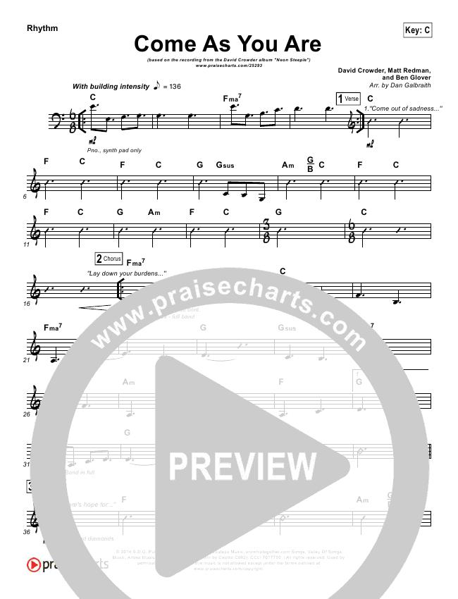 Come As You Are Rhythm Chart (David Crowder)
