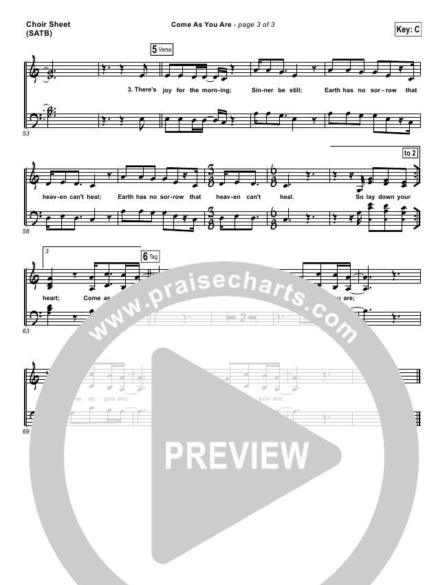 Come As You Are Choir Sheet (SATB) (David Crowder)