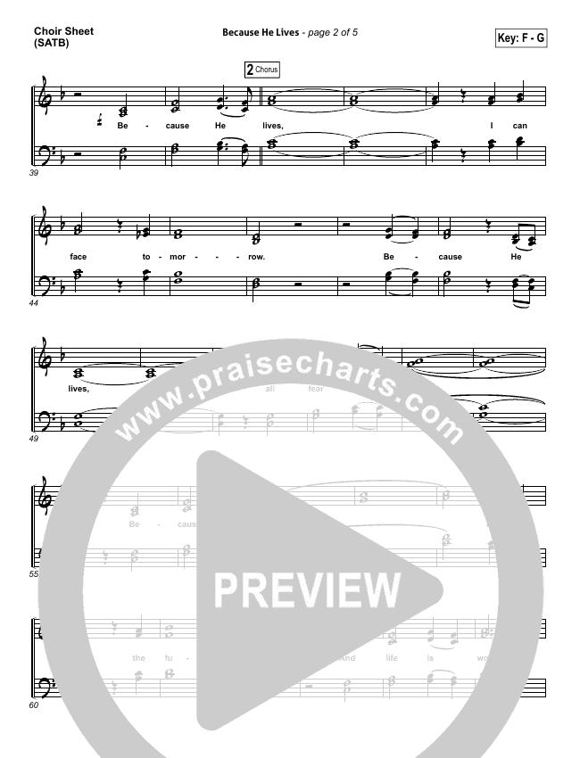 Because He Lives Choir Sheet (SATB) (David Crowder)