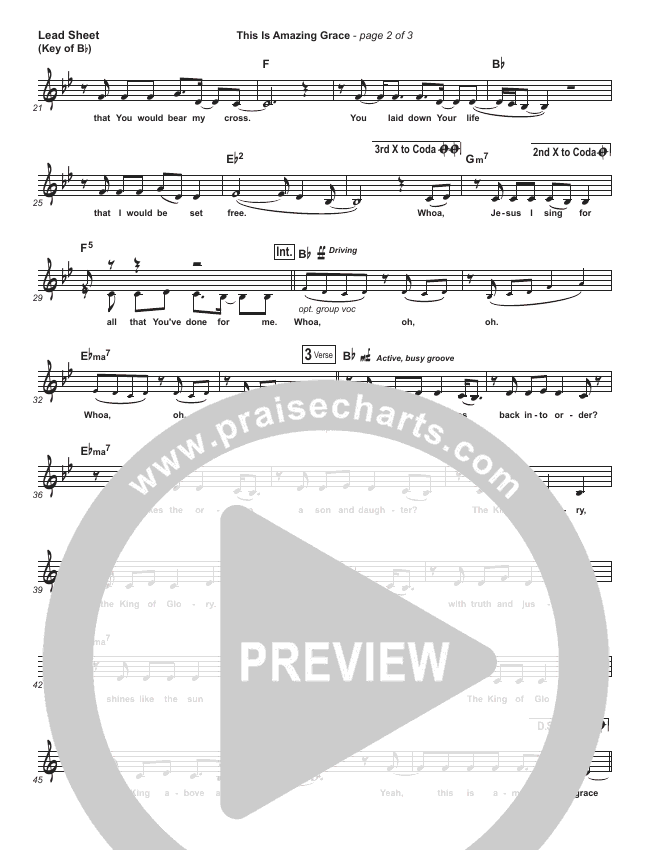 This Is Amazing Grace Lead Sheet (Melody) (Phil Wickham)