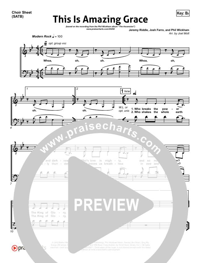 This Is Amazing Grace Choir Sheet Satb Phil Wickham Praisecharts