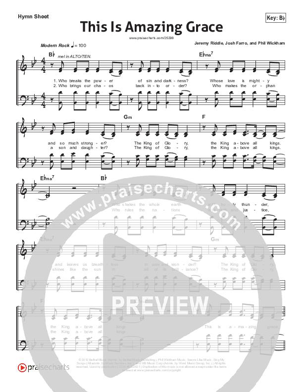 This Is Amazing Grace Hymn Sheet (Phil Wickham)