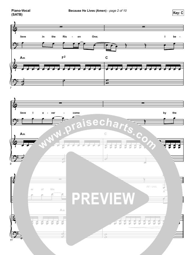 Because He Lives (Amen) Piano/Vocal (SATB) (Matt Maher)