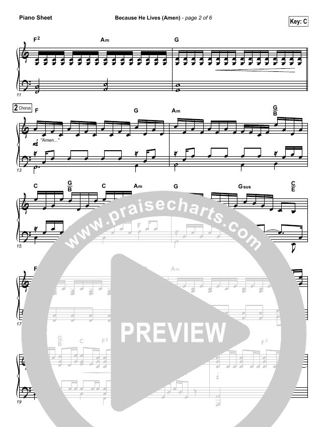 Because He Lives (Amen) Piano Sheet (Matt Maher)
