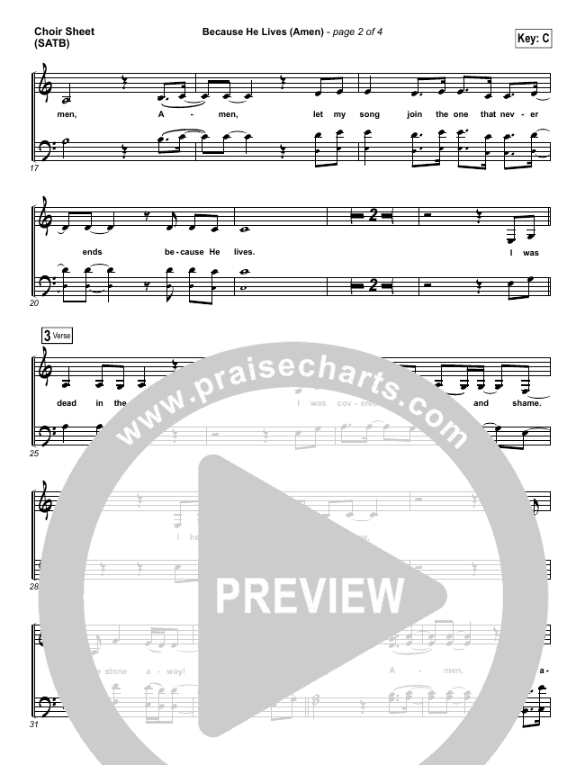 Because He Lives (Amen) Choir Sheet (SATB) (Matt Maher)