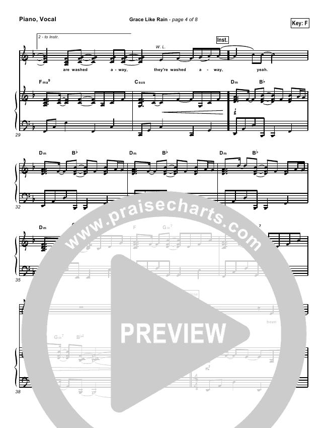 Grace Like Rain Lead Sheet Pianovocal Todd Agnew Praisecharts