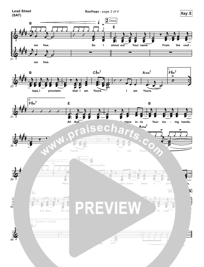 Rooftops Lead Sheet Pianovocal Jesus Culture Praisecharts