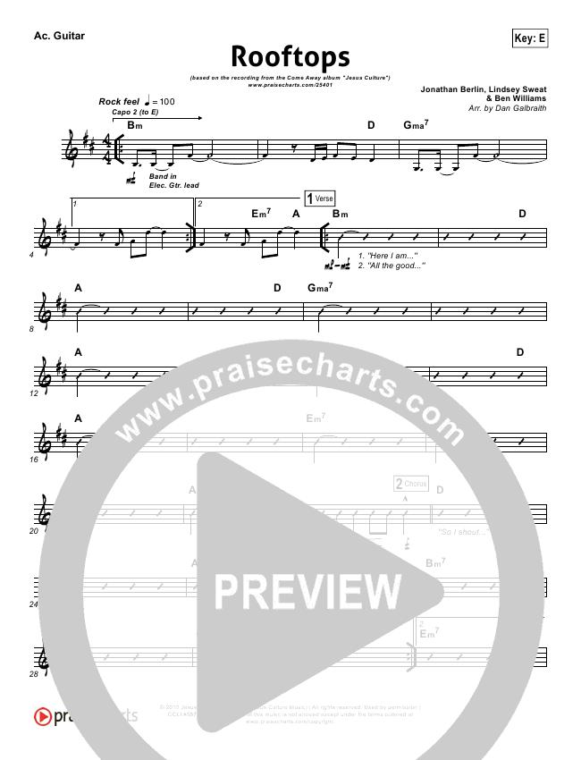 Rooftops Rhythm Chart - Jesus Culture | PraiseCharts