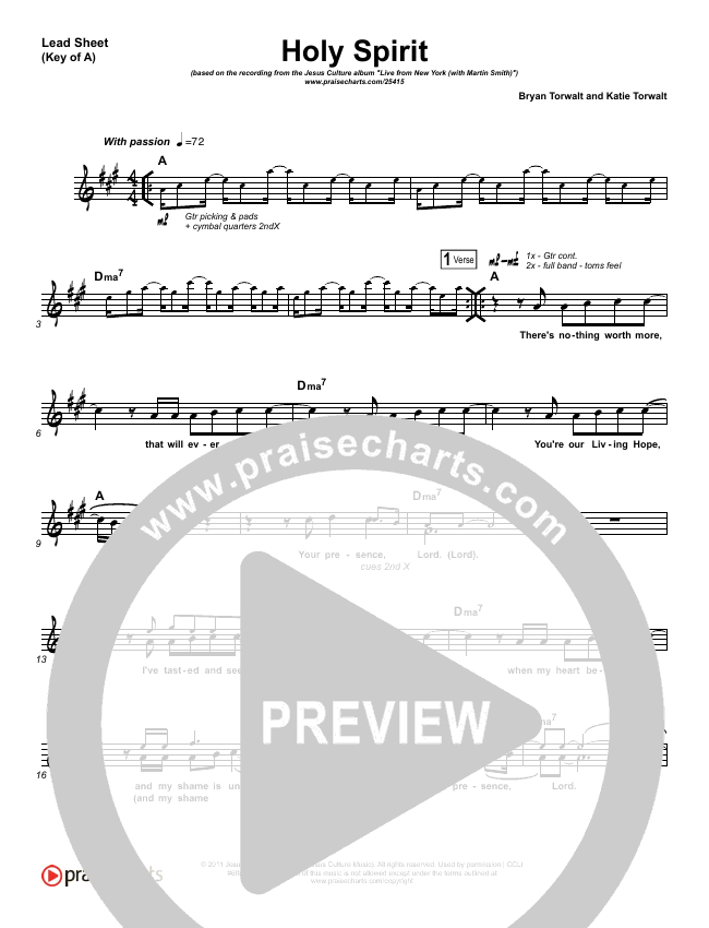 Holy Spirit  Lead Sheet (Melody) (Jesus Culture / Martin Smith)