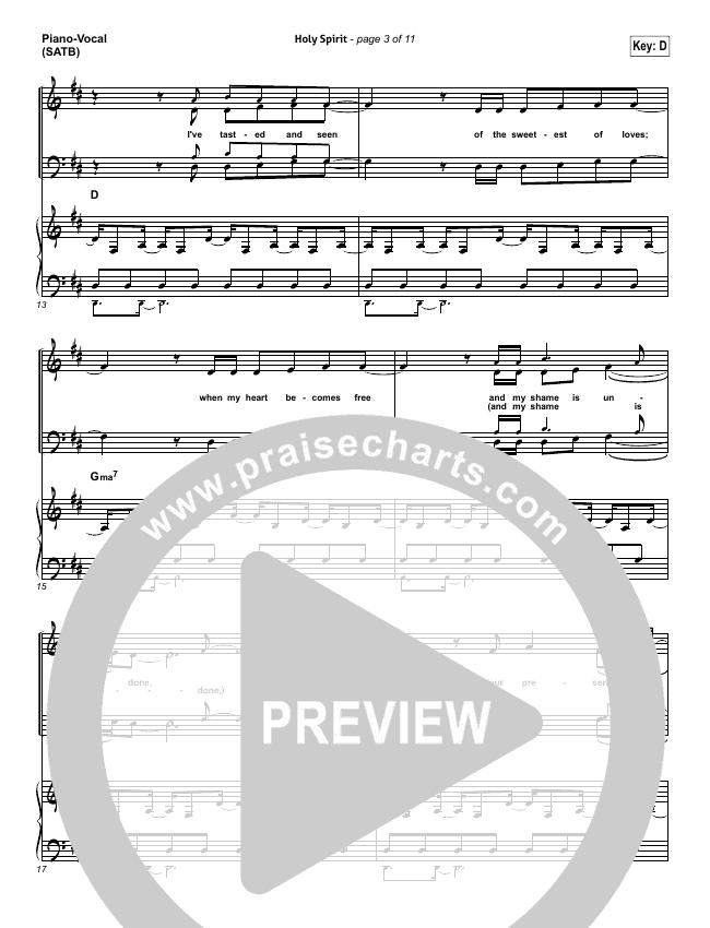 Holy Spirit  Piano/Vocal (SATB) (Jesus Culture / Martin Smith)