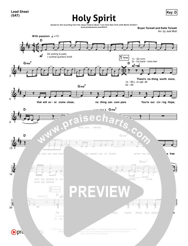 Holy Spirit Jesus Culture Piano Chords Holy Spirit Lead Sheet