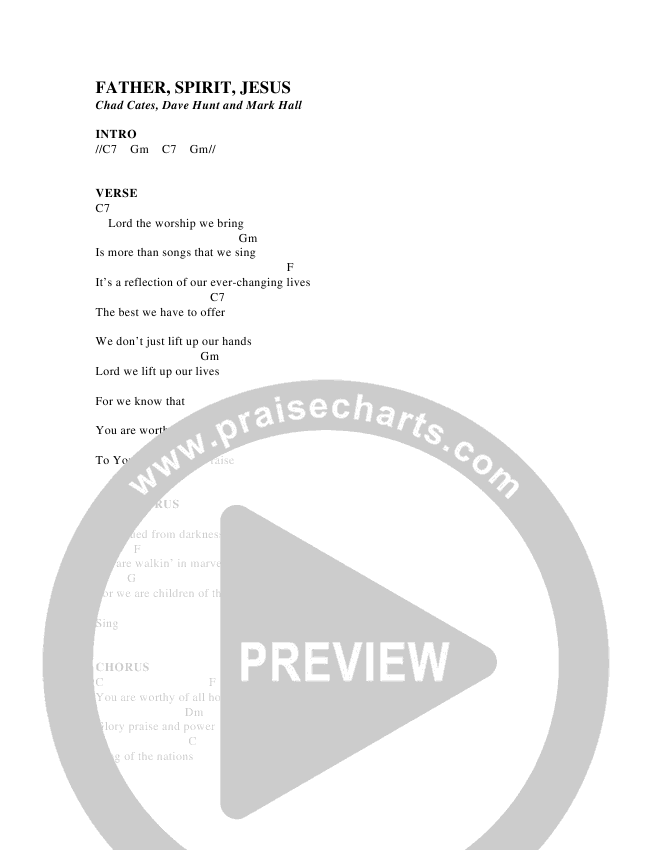 Father Spirit Jesus Chord Chart (Christ For The Nations)