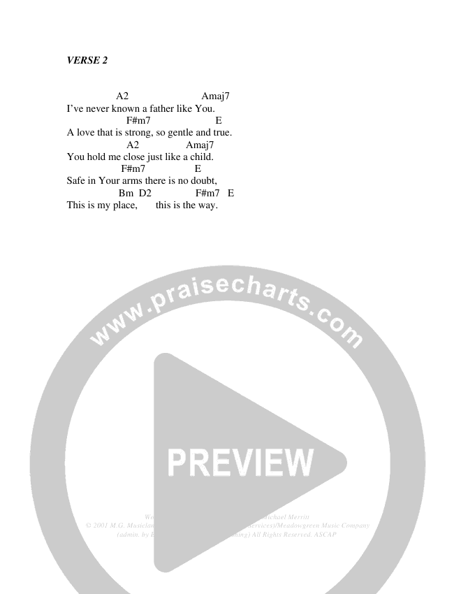 I Will Exalt The One Chord Chart (Christ For The Nations)