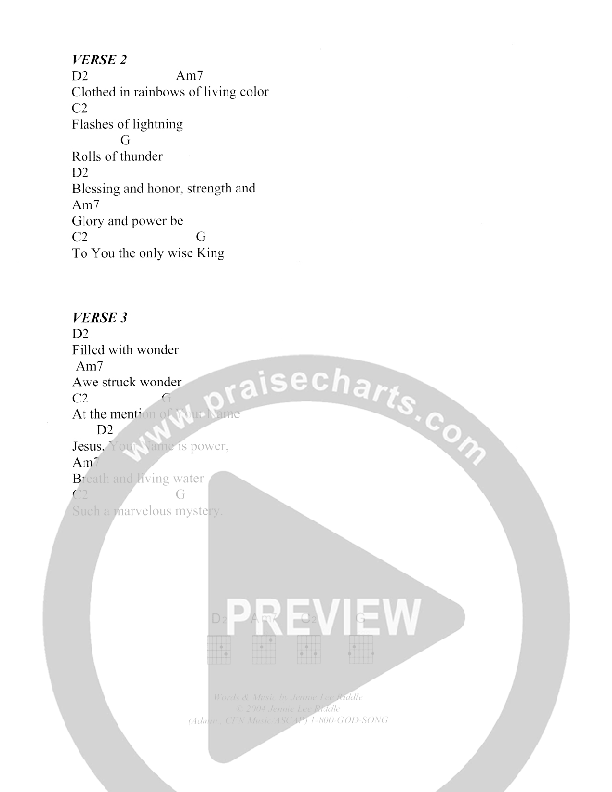 Revelation Song Chord Chart (Christ For The Nations)