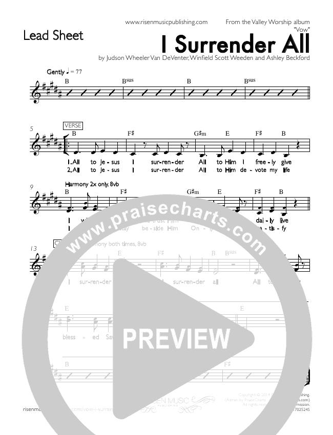 I Surrender All Lead Sheet (Valley Worship / Ashley Beckford)